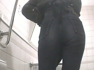 Toilet spy camera shot..